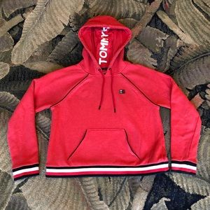 Tommy Hilfiger Red & Black Cropped Hoodie size M